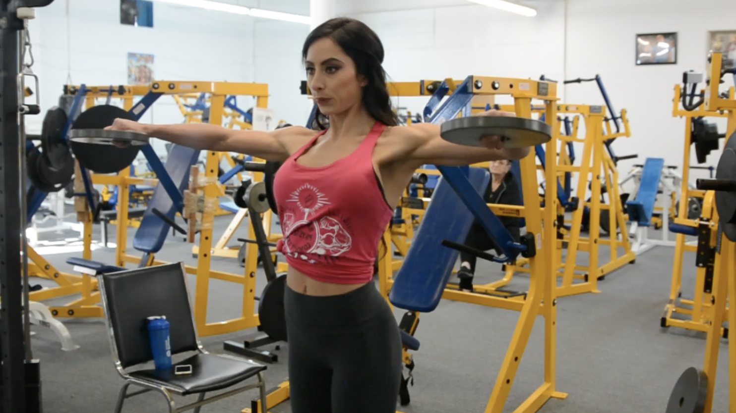 IFBB Bikini Pro Casey Samsel: Shoulder Workout/ Road To The Arnold Part 4. Filmed By J.M. Manion at the NPC Photo Gym