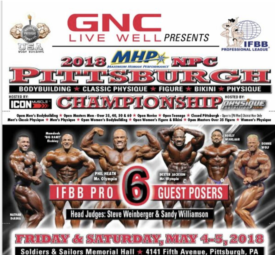 2018 Jim Manion's NPC Pittsburgh Championships and IFBB Pittsburgh Pro Guest Posers: Phil Heath, Shawn Rhoden, Big Ramy, Roelly Winklaar, Nathan De Asha, Dexter Jackson, Dennis Wolf