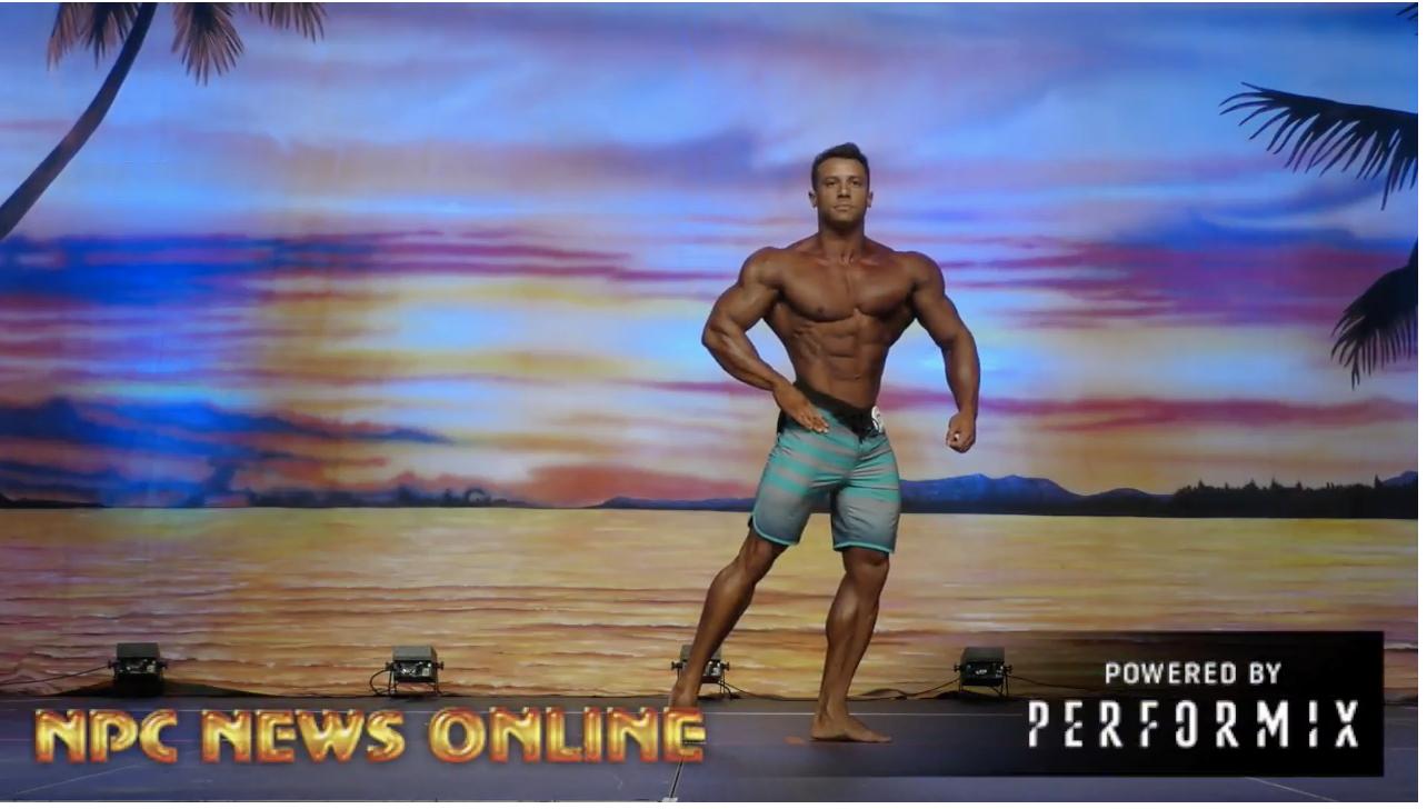 2018 IFBB Europa Orlando Prejudging:  Pro Men's Physique Winner  DIOGO FERREIRA MONTENEGRO Posing On Stage