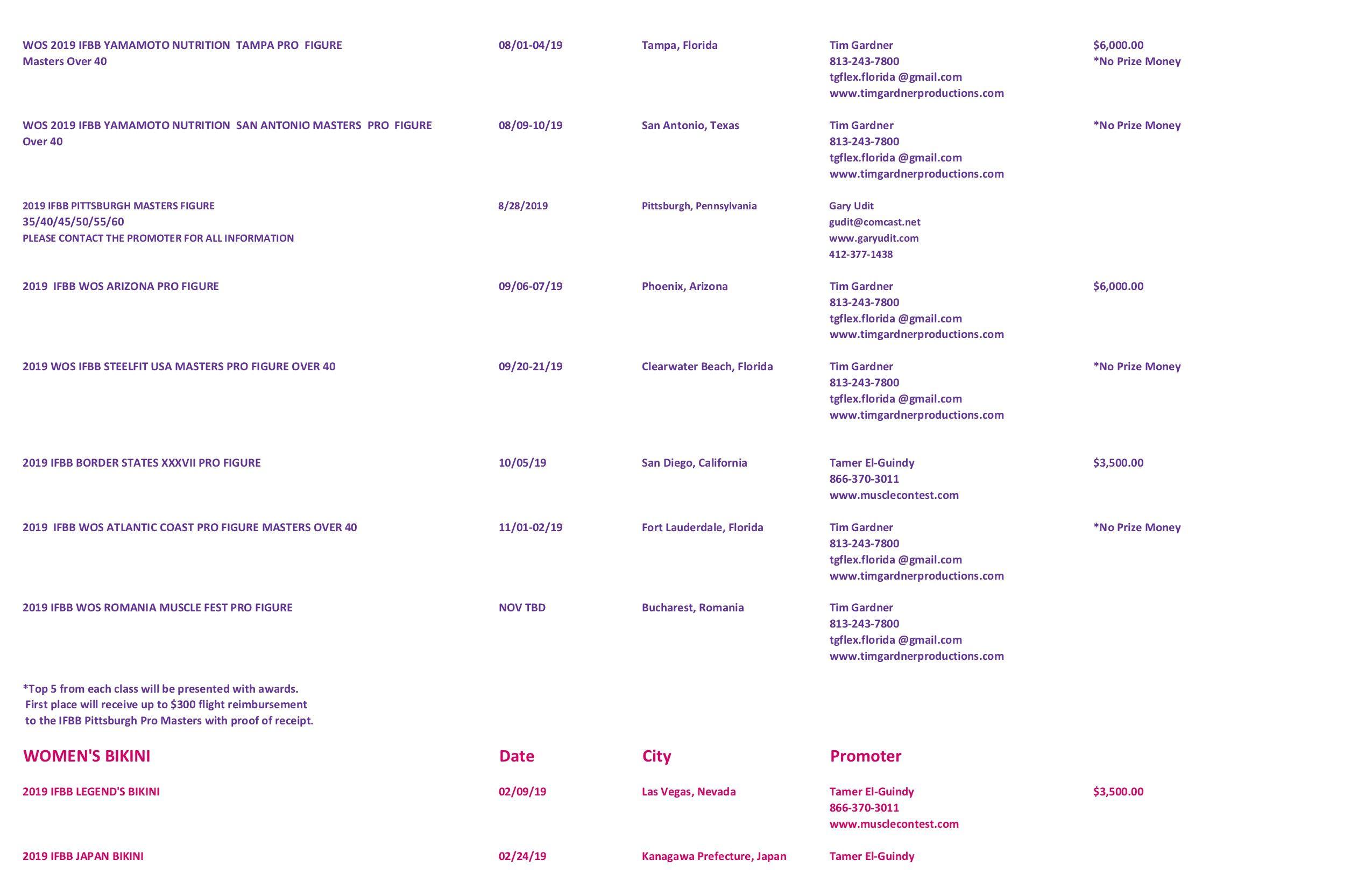 2019 Pro Schedule!! 11